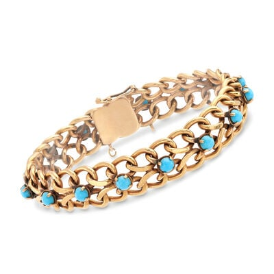 C. 1950 Vintage 18kt Yellow Gold and Turquoise Bracelet, , default