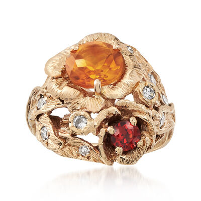 C. 1980 Vintage 1.15 Carat Citrine and .23 Carat Garnet Ring in 14kt Yellow Gold
