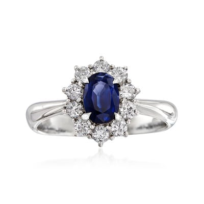 C. 2000 Vintage .77 Carat Sapphire and .43 ct. t.w. Diamond Ring in Platinum, , default