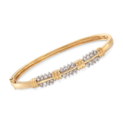 C. 1990 Vintage 1.00 ct. t.w. Diamond Two-Row Bracelet in 14kt Yellow Gold