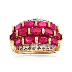 C. 1980 Vintage 3.25 ct. t.w. Ruby and .25 ct. t.w. Diamond Dome Ring in 10kt Yellow Gold, , default
