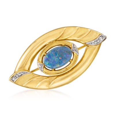 C. 1980 Vintage Black Opal and .20 ct. t.w. Diamond Pin in 14kt Yellow Gold