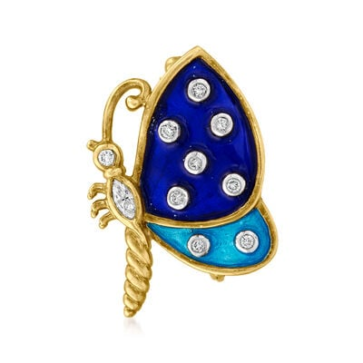 C. 1970 Vintage .25 ct. t.w. Diamond Butterfly Pin with Tonal Blue Enamel in 14kt Yellow Gold