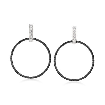 "ALOR ""Noir"" .10 ct. t.w. Diamond Black Stainless Steel Open-Circle Cable Drop Earrings with 18kt White Gold"