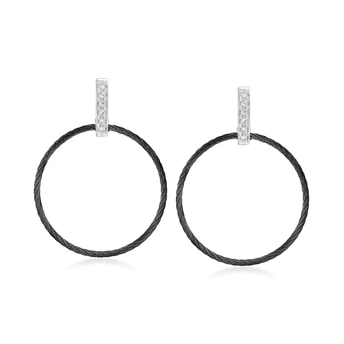 """ALOR """"Noir"""" .10 ct. t.w. Diamond Black Stainless Steel Open-Circle Cable Drop Earrings with 18kt White Gold"""