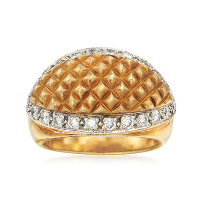 C. 1990 Vintage .60 ct. t.w. Diamond Grid Ring in 18kt Two-Tone Gold