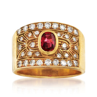 C. 1980 Vintage .50 Carat Ruby and .65 ct. t.w. Diamond Ring in 18kt Yellow Gold, , default