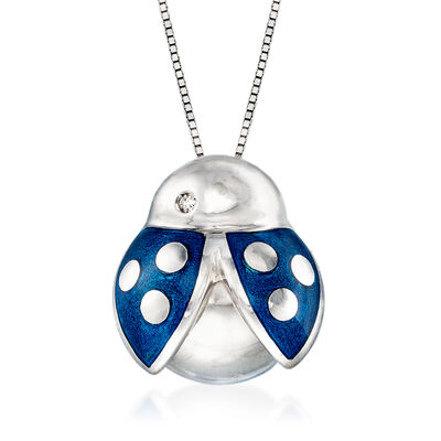 C. 1990 Vintage Salvini Blue Enamel Ladybug Necklace with Diamond Accent in 18kt White Gold, , default