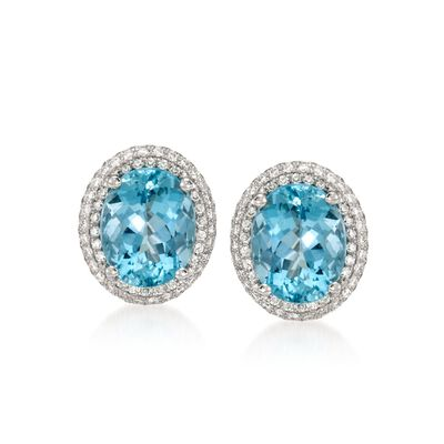 Simon G. 4.87 ct. t.w. Aquamarine and .62 ct. t.w. Diamond Stud Earrings in 18kt White Gold, , default