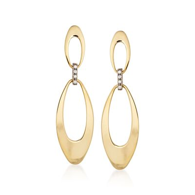 "Roberto Coin ""Chic & Shine"" 18kt Two-Tone Gold Link Drop Earrings with Diamond Accents, , default"