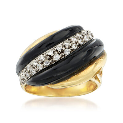 C. 1980 Vintage Black Onyx and .50 ct. t.w. Diamond Ring in 18kt Yellow Gold , , default