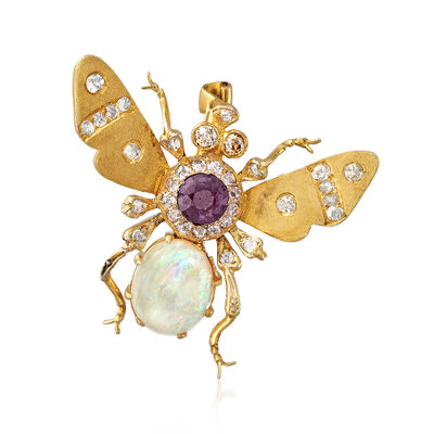 C. 1930 Vintage Opal, .45 ct. t.w. Diamond and Purple Glass Doublet Bug Pin in 18kt Yellow Gold