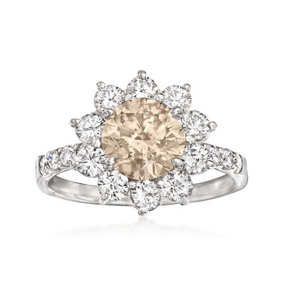 C. 1980 Vintage 2.58 ct. t.w. Brown and White Diamond Flower Ring in Platinum