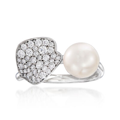 "Mikimoto ""Petal"" 7.5mm A+ Cultured Akoya Pearl and .46 ct. t.w. Diamond Ring in 18kt White Gold, , default"