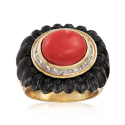 C. 1980 Vintage Orange Coral and Black Onyx Ring With .35 ct. t.w. Diamonds in 14kt Yellow Gold, , default