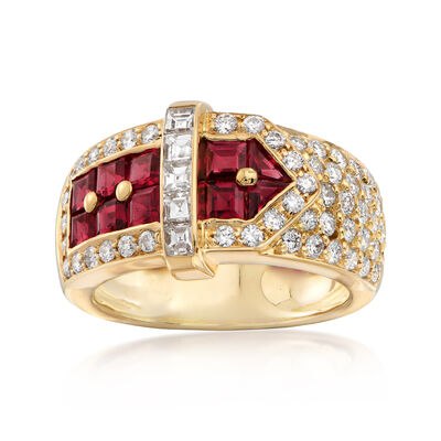 C. 1990 Vintage 1.50 ct. t.w. Ruby and 1.35 ct. t.w. Diamond Buckle Ring in 18kt Yellow Gold, , default