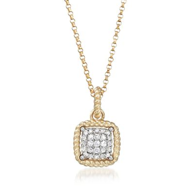"Roberto Coin ""New Barocco"" .20 ct. t.w. Diamond Square Pendant Necklace in 18kt Yellow Gold"