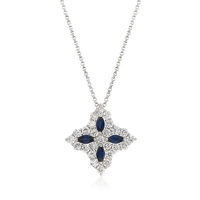 "Roberto Coin ""Princess Flower"" 1.23 ct. t.w. Diamond and .65 ct. t.w. Sapphire Large Flower Pendant Necklace in 18kt White Gold, , default"