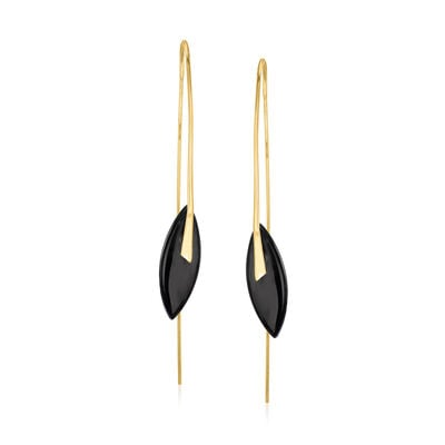 C. 1990 Vintage Black Onyx Drop Earrings in 14kt Yellow Gold