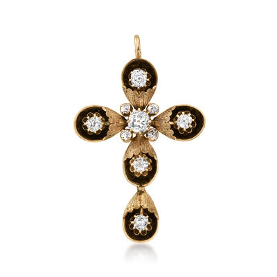C. 1900 Vintage 3.25 ct. t.w. Diamond Cross Pin/Pendant in 12kt Yellow Gold