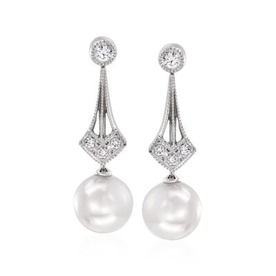 Mikimoto 6.5mm A+ Akoya Pearl Drop Earrings with Diamond Accents in 18kt White Gold, , default