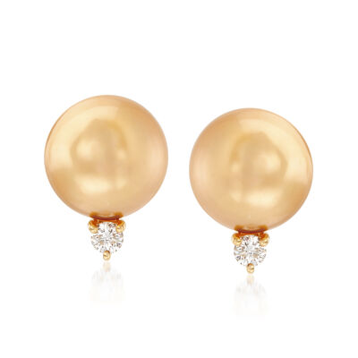 Mikimoto 10mm A+ Golden South Sea Pearl and .20 ct. t.w. Diamond Earrings in 18kt Yellow Gold, , default