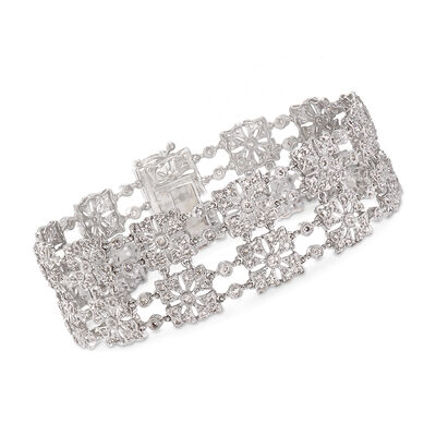 C. 1990 Vintage 2.60 ct. t.w. Diamond Squared Section Bracelet in 14kt White Gold, , default
