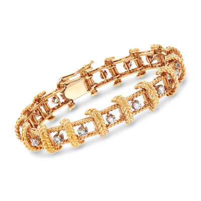C. 1970 Vintage 2.55 ct. t.w. Diamond Roped Bracelet in 18kt Yellow Gold, , default