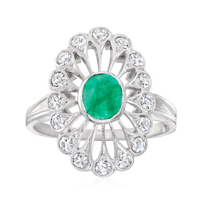 C. 1980 Vintage .65 Carat Emerald and .55 ct. t.w. Diamond Cocktail Ring in 14kt White Gold