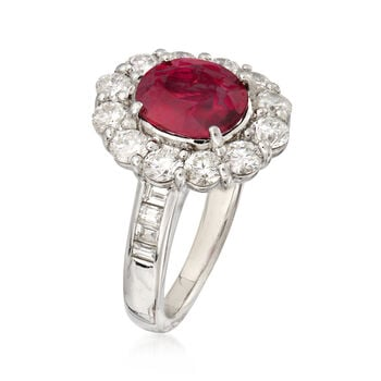 2.63 Carat Ruby and 1.94 ct. t.w. Diamond Ring in Platinum. Size 6.5