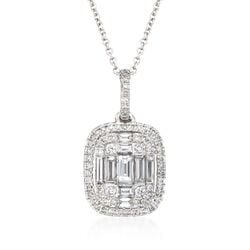 Simon G. .56 ct. t.w. Diamond Pendant Necklace in 18kt White Gold, , default