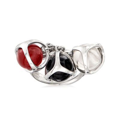 C. 1990 Vintage Di Modolo Multi-Gemstone Bead Ring in 18kt White Gold, , default