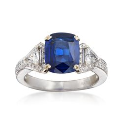 C. 2000 Vintage 3.00 Carat Sapphire and .56 ct. t.w. Diamond Ring in 14kt White Gold, , default