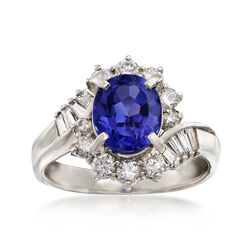 C. 1990 Vintage 1.79 Carat Tanzanite and .68 ct. t.w. Diamond Ring in Platinum, , default