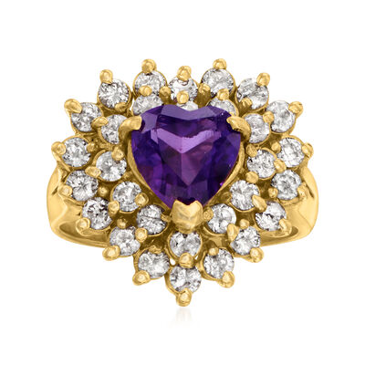 C. 1980 Vintage 1.10 Carat Heart-Shaped Amethyst and 1.00 ct. t.w. Diamond Ring in 14kt Yellow Gold