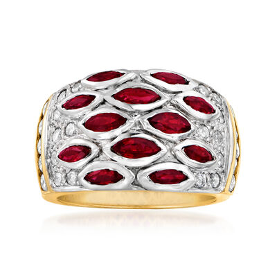 C. 1980 Vintage 1.20 ct. t.w. Ruby and .80 ct. t.w. Diamond Ring in 14kt Two-Tone Gold