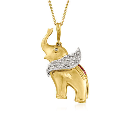 C. 1980 Vintage .35 ct. t.w. Diamond and .25 ct. t.w. Ruby Circus Elephant Pendant Necklace in 18kt Yellow Gold