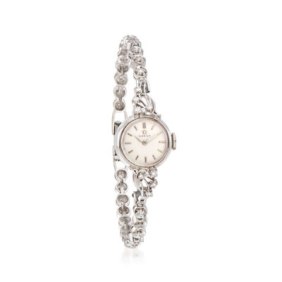 C. 1950 Vintage Omega Women's 13.5mm .90 ct. t.w. Diamond Manual Watch in 14kt White Gold, , default