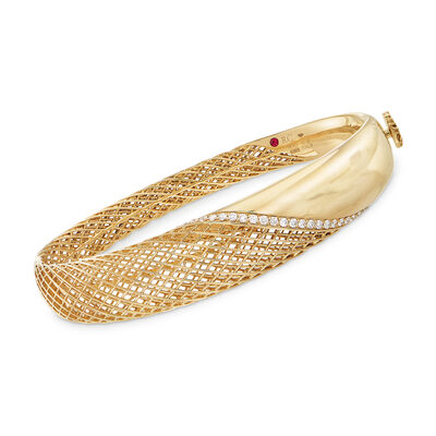 Roberto Coin .37 ct. t.w. Diamond Rounded Bangle Bracelet in 18kt Yellow Gold, , default