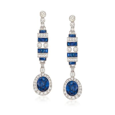 C. 2000 Vintage 6.50 ct. t.w. Sapphire and 1.30 ct. t.w. Diamond Drop Earrings in 18kt White Gold