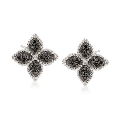 "Roberto Coin ""Princess"" .35 ct. t.w. Black Diamond Flower Earrings in 18kt White Gold"