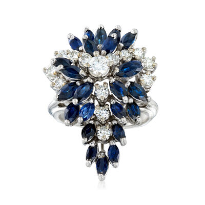 C. 1970 Vintage 2.50 ct. t.w. Sapphire and 1.00 ct. t.w. Diamond Cluster Ring in 14kt White Gold, , default