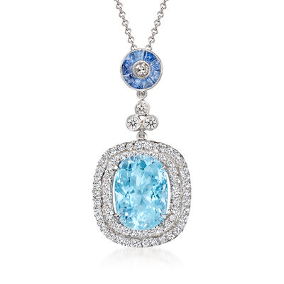 C. 1990 Vintage 6.35 Carat Aquamarine, 1.25 ct. t.w. Diamond and .75 ct. t.w. Sapphire Pendant Necklace in 18kt and 14kt White Gold