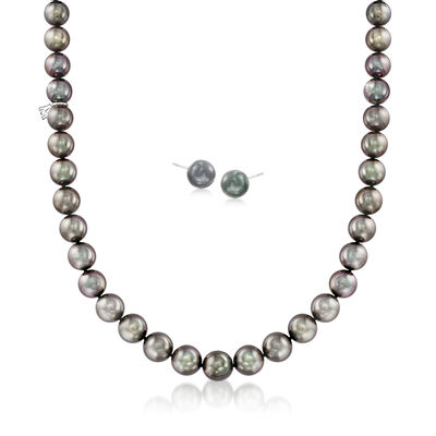 Mikimoto 9-15mm A+ Black South Sea Pearl Jewelry Set: Necklace and Earrings in 18kt White Gold, , default