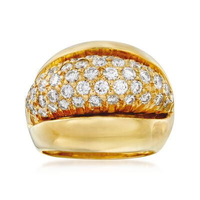 C. 1980 Vintage 1.75 ct. t.w. Pave Diamond Dome Ring in 18kt Yellow Gold, , default