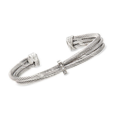 "Phillip Gavriel ""Italian Cable"" Sterling Silver Three-Row Cuff Bracelet with Diamond Accents, , default"