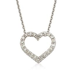 "Roberto Coin ""Tiny Treasures"" .75 ct. t.w. Diamond Heart Necklace in 18kt White Gold, , default"