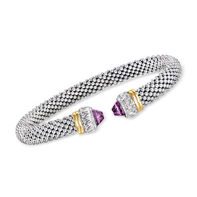 "Phillip Gavriel ""Popcorn"" .60 ct. t.w. Amethyst Cuff Bracelet in Sterling Silver with 18kt Yellow Gold"