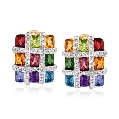 C. 1990 Vintage 4.60 ct. t.w. Multi-Gemstone and .40 ct. t.w. Diamond Checkerboard Earrings in 18kt Two-Tone Gold, , default