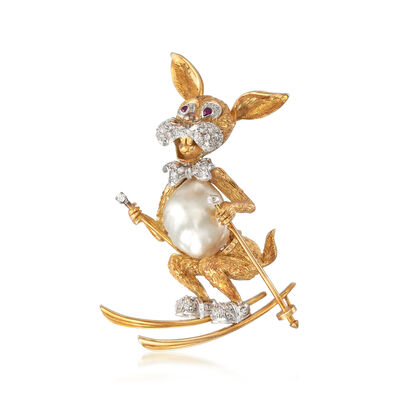 C. 1970 Vintage South Sea Pearl and .65 ct. t.w. Diamond Ski Bunny Pin in 18kt Yellow Gold, , default
